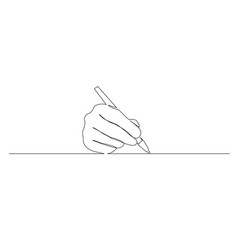 Continuous one line hand write with a pen vector