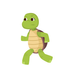 Cute little turtle running on two hind legs vector