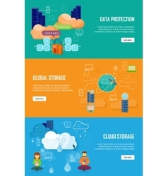 Data Protection Global Storage and Cloud Storage vector
