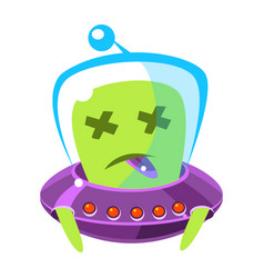 Dead alien in a flying saucer cute cartoon vector