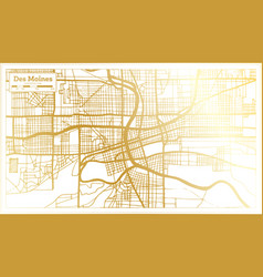des moines usa city map in retro style in golden vector image