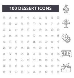 dessert line icons signs set outline vector image