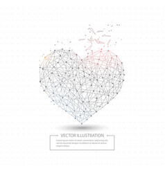 digitally drawn love heart low poly wire frame vector image