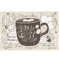 doodles on a theme of coffee is life vector image