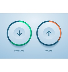 Download and upload buttons with progress bar vector
