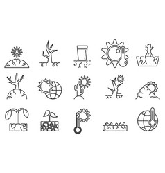 drought environment icons set outline style vector image