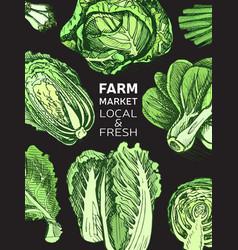 Eco shop farm product sketch vegetables vector