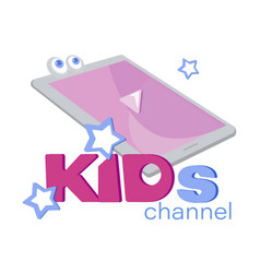 Emblem template for kids channel with the tablet vector