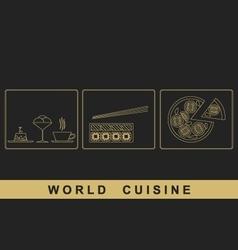 European japanese italian cuisine vector