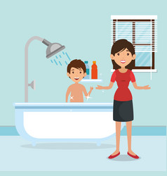 Family parents in bathroom with tub scene vector