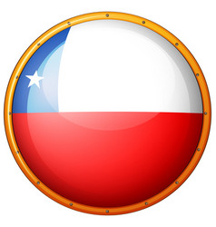 flag of chile on round badge vector image