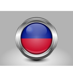 Flag of Haiti Metal and Glass Round Icon vector image