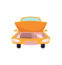 Flat cartoon yellow sedan car open hood vector
