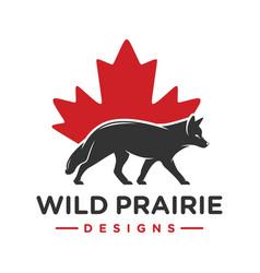 fox animal logo design and symbol canada vector image