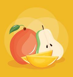 Fresh pear and mango fruits vector
