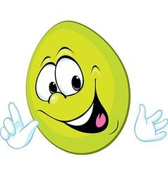 funny green easter egg smiling vector image