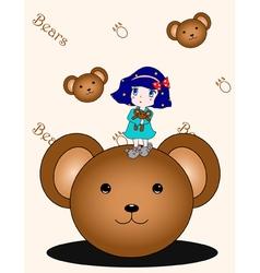 Girl with bear vector