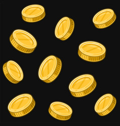 golden coins seamless pattern on black background vector image