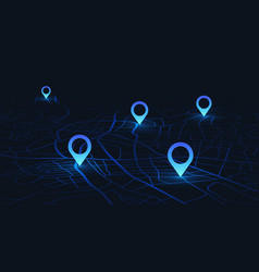 Gps tracking map track navigation pins on street vector