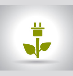 green plug power consumption on white background vector image