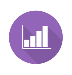 growth chart flat design long shadow icon vector image