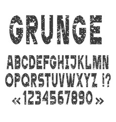 Grunge alphabet letters and numbers set vector