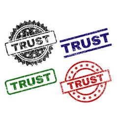 Grunge textured trust seal stamps vector