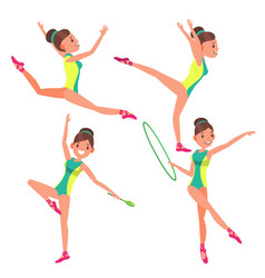 Gymnastics young woman player gymnastic vector