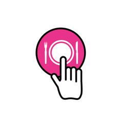 Hand cursor index with restaurant app vector