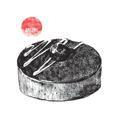 Hand drawn chocolate pastry vector image