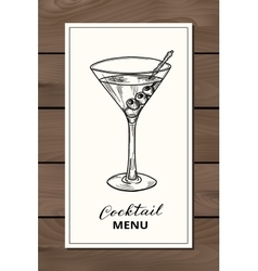 Hand drawn martini cocktail vector image