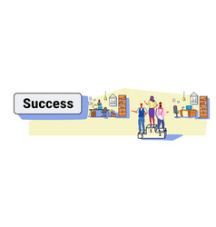 Happy business people standing winners podium vector