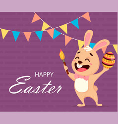 happy easter greeting card easter spring concept vector image