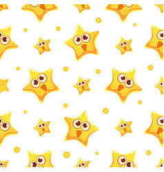 happy funny yellow star character seamless pattern vector image