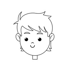Head face boy smiling character line vector