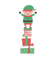 Helper standing on pile gifts decoration merry vector