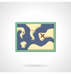 Hiking map flat color design icon vector