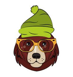 Hipster bear cool sketch vector