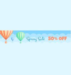 hot air balloon travel sale discount banner promo vector image