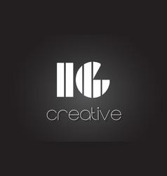 Ig i q letter logo design with white and black vector