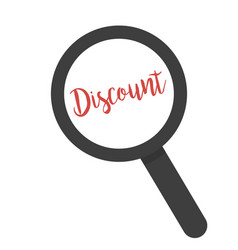 inscription discount under magnifying glass on a vector image