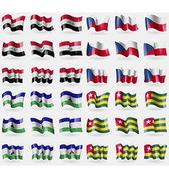 Iraq Czech Republic Lesothe Togo Set of 36 flags vector image