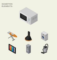 Isometric appliance set of cloth iron microwave vector