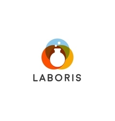 Lab logo Flask logotype Science education vector image