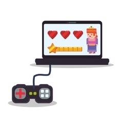 laptop control console princess play hearts vector image