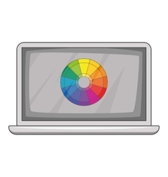 Laptop with printing palette icon cartoon style vector