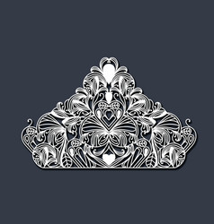 laser cutting in shape of royal crown floral in vector image