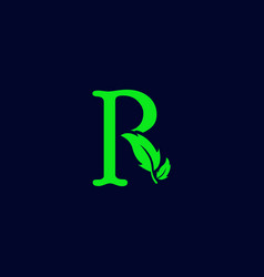 Letter r leaf nature eco green logo template vector