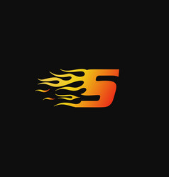 letter s burning flame logo design template vector image