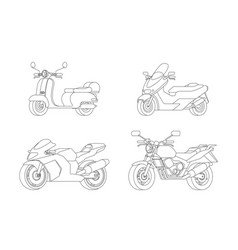 Linear motorcycles set vector